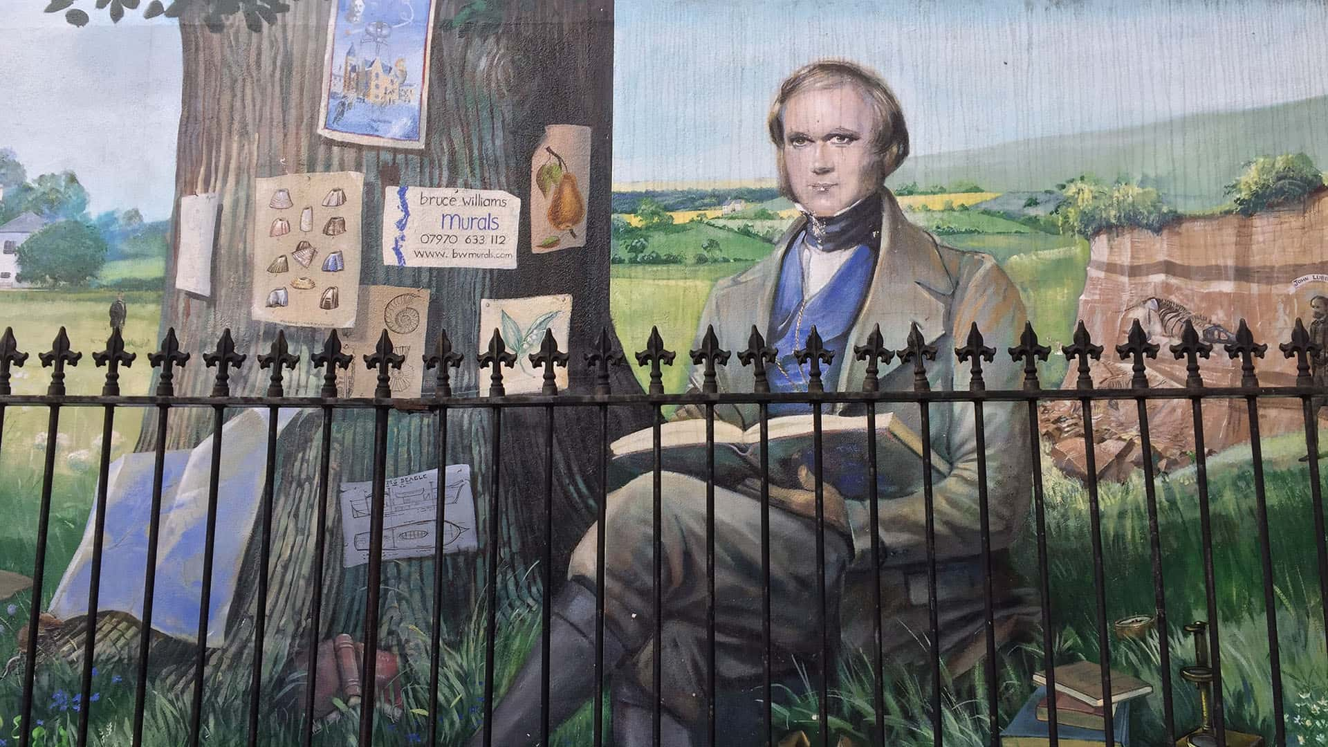 Mural of Charles Darwin at Down House