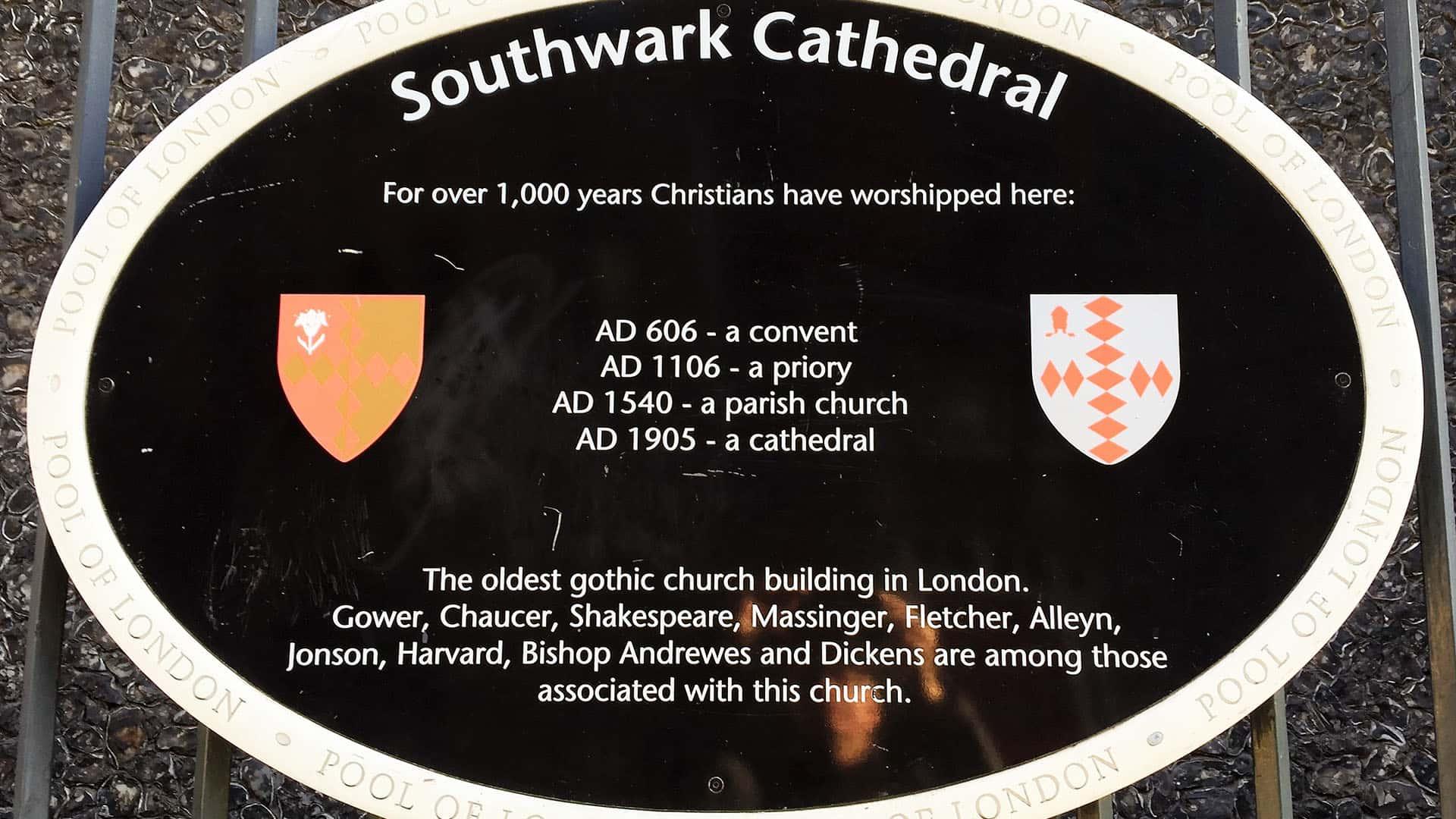 Southwark Cathedral Plaque – London Virtual Tour