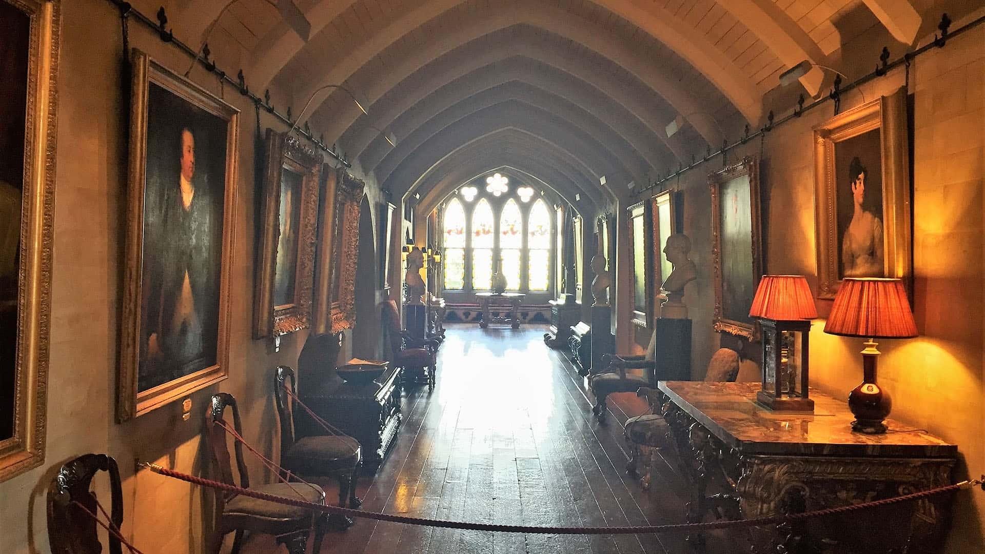 Arundel Castle corridor lined with artworks